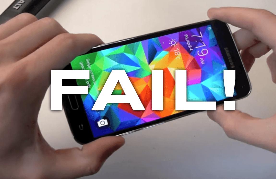 GALAXY-S5-PROBLEMS-BATTERY-FAIL-VIDEO-HAMMER-FUNNY-JIPOSHY لماذا جالكسي اس 5 هاتف فاشل أضر بقيمة الجالكسي و سمعة سامسونج ؟