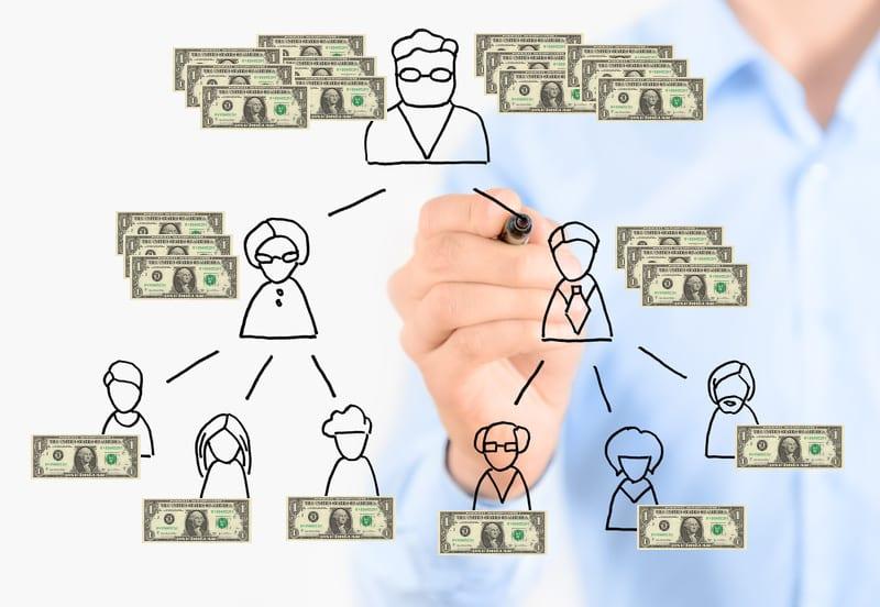 Pyramid-Scheme-money-version مقارنة بين التسويق الشبكي و البيع بالعمولة و التسويق الهرمي