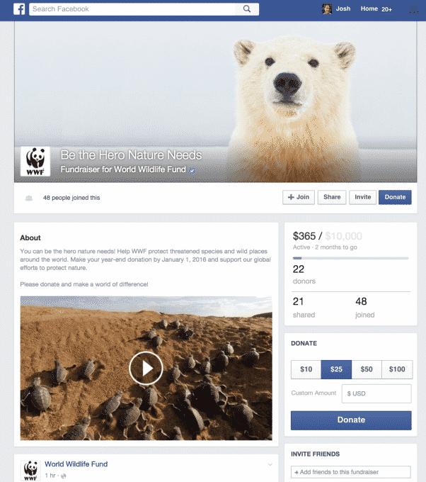 facebook-fundraiser كيف سينافس فيس بوك منصات دعم المشاريع بما فيها Kickstarter؟