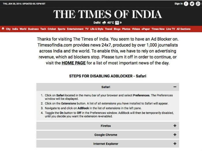 adblock الإعلانات على الإنترنت في خطر ومواقع الويب المجانية إلى زوال