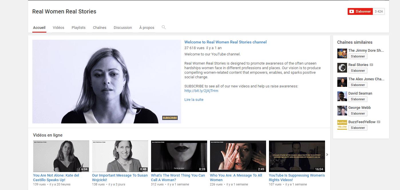 Real-Women-Real-Stories صاحبة قناة يوتيوب تحارب العنف ضد النساء تشتكي من إعلانات جوجل