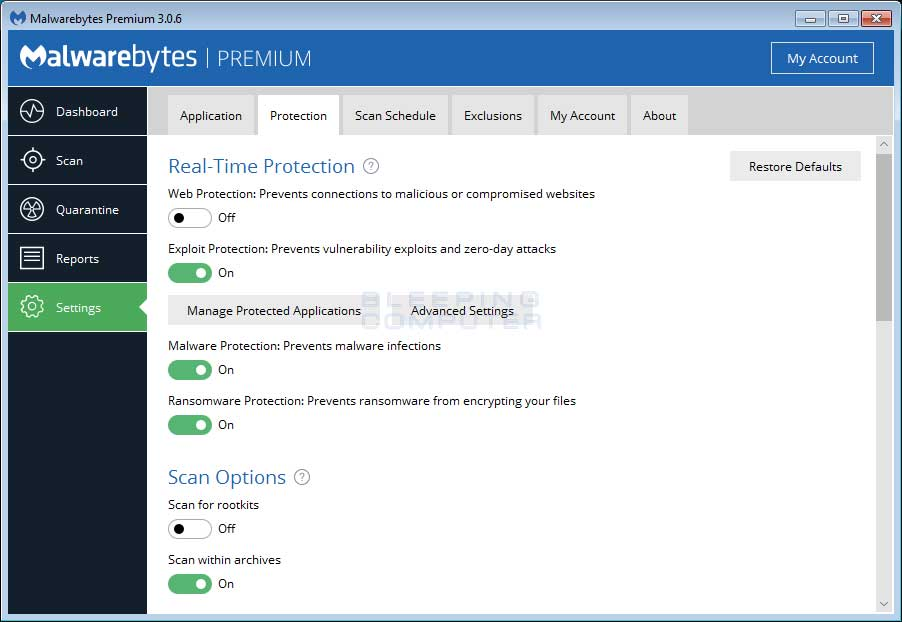 Malwarebytes-Anti-Malware كيفية حذف فيروس الفدية WannaCry من حواسيب ويندوز المصابة