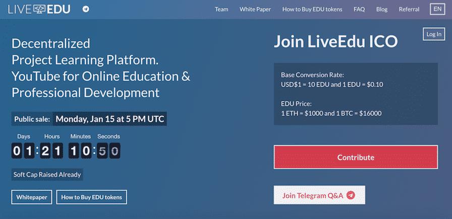 LiveEdu-ICO فرصة استثمار: ابتداء من 0.10 دولار استثمر في موقع LiveEdu يوتيوب التعليمي المتطور