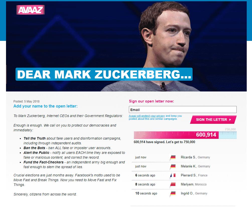 DEAR-MARK-ZUCKERBERG مليون مستخدم يطالبون بإصلاح فيس بوك لتفادي الإنهيار