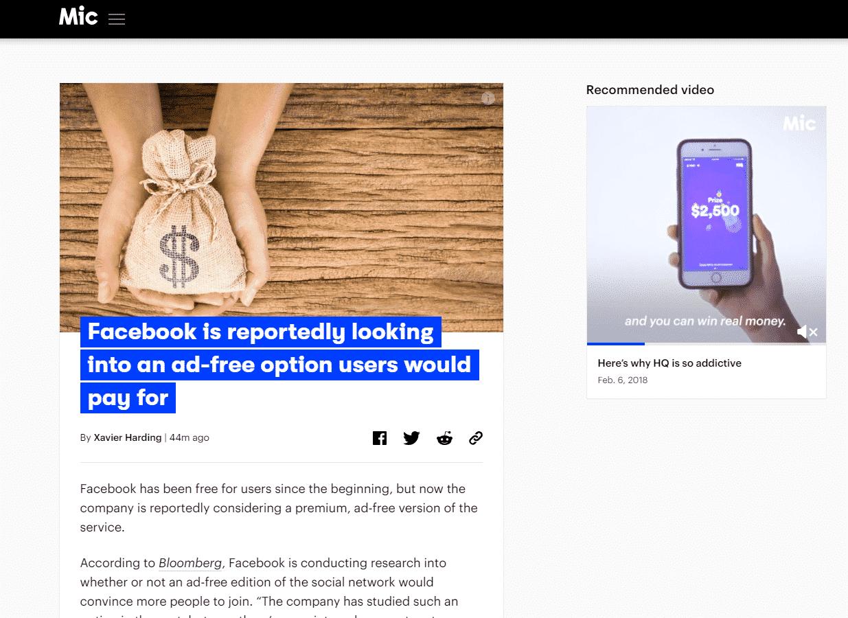 Mic انهيار زيارات موقع Mic الإخباري بنسبة 95% بسبب فيس بوك