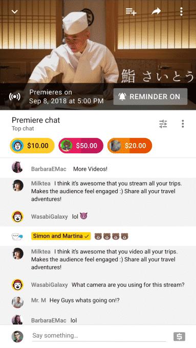 premiere-chat- 3 طرق جديدة للربح من قنوات يوتيوب 2018