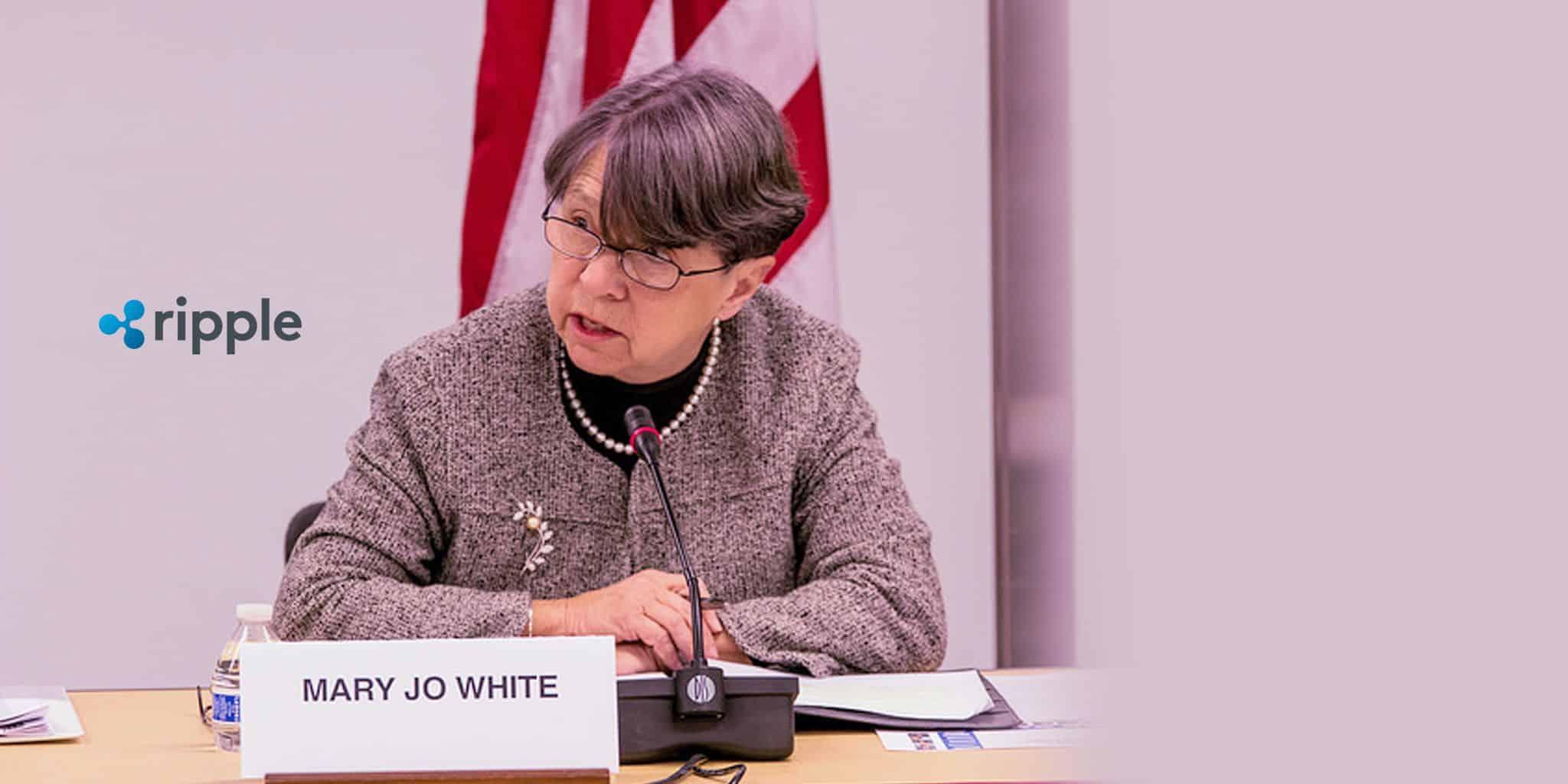 Former-SEC-Chair-Mary-Jo-White-Representing-Ripple الريبل XRP قد يتم اعتبارها أوراقا مالية وهذا مصيرها