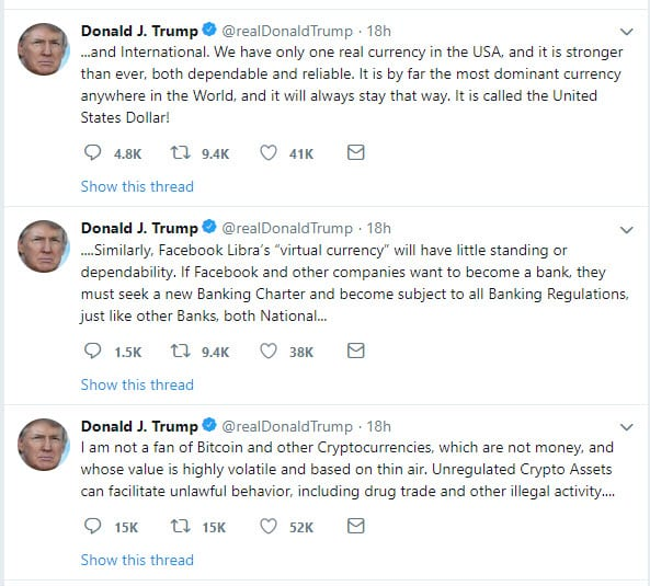 2019-07-12_19-02-42 وجهة نظر دونالد ترامب حول عملة ليبرا والعملات الرقمية